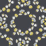 Flowers on dotted white decorative wreath seamless pattern Stock Photography
