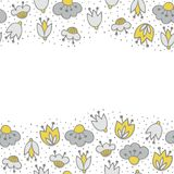 Flowers on dotted white seamless double horizontal border Stock Photography