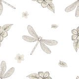 Flowers and dragonflies seamless pattern. Hand drawn floral seamless pattern with dragonflies. Vintage engraving style Royalty Free Stock Images