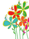 Flowers Drawing Style Color Bird Stand Royalty Free Stock Image