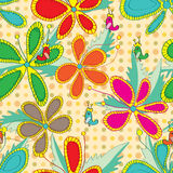 Flowers Drawing Style Color Seamless Pattern Royalty Free Stock Images
