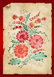 Flowers are drawn on an old paper Stock Images