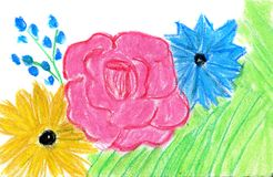Flowers drawn with pastel. Hand drawn design element royalty free stock images