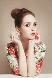 Flowers dress of  beautiful spring girl Royalty Free Stock Photo