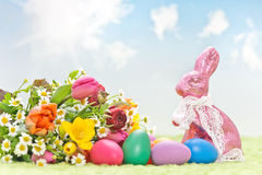 Flowers with easter decoration Royalty Free Stock Images