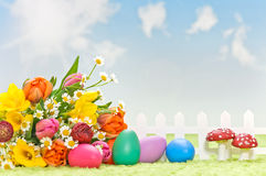 Flowers with easter decoration Stock Image