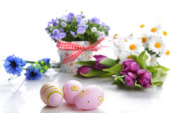 Flowers and easter eggs Royalty Free Stock Images