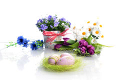 Flowers and easter eggs Stock Image