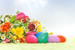 Flowers with easter eggs Royalty Free Stock Photography