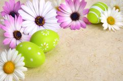 Flowers and Easter eggs on parchment Stock Photos