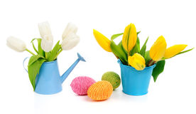 Flowers with easter eggs Stock Image