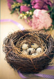 Flowers and easter nest with eggs on rustic wooden background Royalty Free Stock Photo