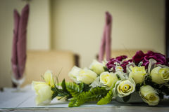 Flowers on elegant Dining Table Stock Photo