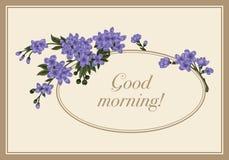 Flowers. Elegant vintage card. Classical frame. Spring flowering branch. Flowers. Elegant vintage card. Classical frame Stock Photo