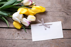 Flowers and empty tag. Royalty Free Stock Image