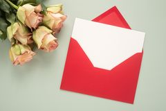 Flowers and envelope Royalty Free Stock Photos
