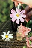Flowers and essential oil Stock Image