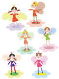 Flowers fairies. Set of the funny flowers fairies Vector Illustration