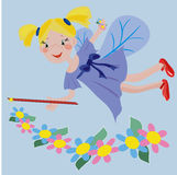 Flowers fairy. Blue background with blond funny flowers fairy Royalty Free Illustration