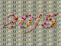 2015 Flowers on festive on  Hundred Dollar banknotes  Background Royalty Free Stock Images