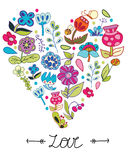 Flowers of the field in the form of heart. Colorful background with drawing flowers of the field in the form of heart on white background, vector floral royalty free illustration