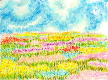 Flowers field landscape,oil pastel painting illustration stock illustration