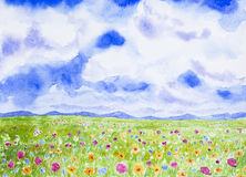 Flowers field landscape watercolor painted. Flowers field landscape watercolor on paper Royalty Free Stock Images