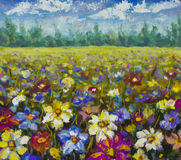 Flowers field oil painting. Royalty Free Stock Photo