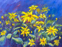 Flowers field oil painting. Yellow flowers on blue background. Stock Images