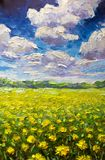 Flowers field painting. The endless summer field of yellow orange flowers, blue sky and big clouds Oil and palette knife original. Palette knife fragment Stock Photography