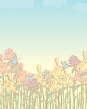 Flowers field pastel. Illustration flower field butterflies pastel color background cloud sky Royalty Free Stock Photo