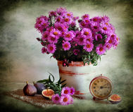 Flowers and fig Stock Photos