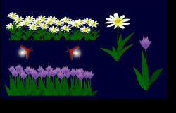Flowers and fireflies - illustrator -material Stock Image