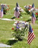 Flowers and flags. At a Memorial Day Celebration Royalty Free Stock Images