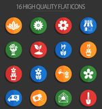 Flowers 16 flat icons. Flowers vector icons for web and user interface design vector illustration