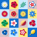 Flowers flat icons set, simple color design for frames. Flowers flat icons set, simple color design elements Royalty Free Stock Images