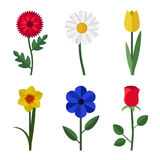 Flowers flat icons. Flowers icons in flat style. Vector simple illustration of garden flowers Stock Photo