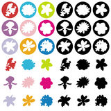9 Flowers flat icons. 9 Flowers flat icons vivid color Stock Illustration