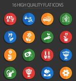 Flowers 16 flat icons. Flowers web icons for user interface design vector illustration