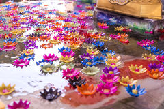Flowers floating candles light,Thailand. royalty free stock image