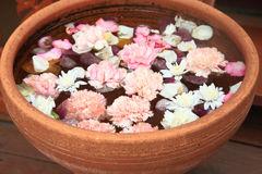 Flowers floating on water in terracotta pots Royalty Free Stock Photo