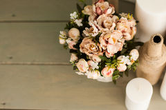 The flowers on the floor. Decorating the wedding arch, decorative bottle Royalty Free Stock Images
