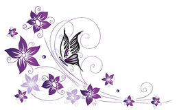 Flowers, floral element. Filigree colorful flowers, violet with butterfly Royalty Free Stock Photo