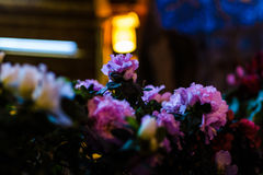 Flowers On A Florist At Night Stock Photo