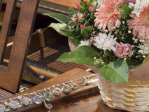 Flowers, flute and piano Stock Photo