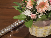 Flowers and flute Royalty Free Stock Photo