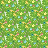 Flowers foliage vector butterfly seamless pattern background flat style berries natural greeting holidays card. Illustration. Decorative ornament green nature Stock Photos