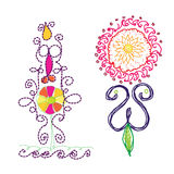 Flowers with folk embroidery hand draw Stock Photography