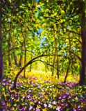 Flowers in forest. Summer sunny day in green forest. Beautiful magic forest stock photos