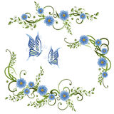 Flowers, forget me not. Colorful spring time decoration, forget me not vector illustration